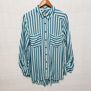 Button-Front Striped Top Size 0X